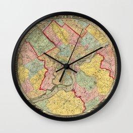 Map of Philadelphia 1849 Wall Clock