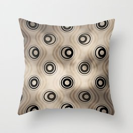 Pantone Hazelnut, Bold Circle Rings & Wavy Line Pattern Throw Pillow