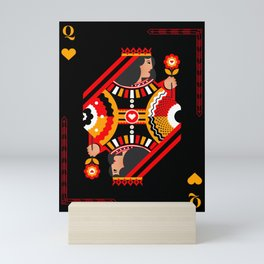 Queen Of Hearts Playing Card Art In Red Black &Gold Mini Art Print
