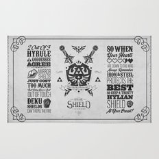 Legend of Zelda Hylian Shield Foundry logo Iconic Geek Line Artly Rug