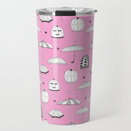 Happy Umbrellas Pattern - pink Travel Mug
