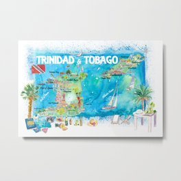 Trinidad & Tobago Antilles Illustrated Travel Map with Roads and Highlights Metal Print