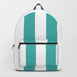 Vertical Stripes - White and Verdigris Backpack