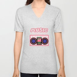"Cute and  pink ""Radio Music"" tee design. Makes a nice gift to your friends and family this holiday!  Unisex V-Neck"