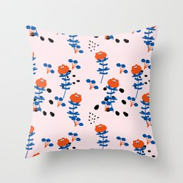 Illustrated Garden Pattern Throw Pillow