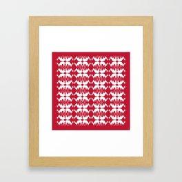 Oh, deer! in cranberry red Framed Art Print