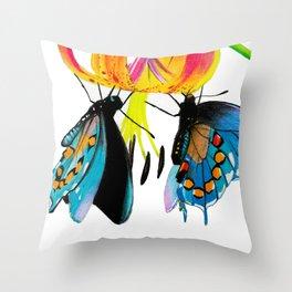 Butterflies & Lily Throw Pillow