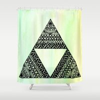 triforce Shower Curtains featuring Triforce by Leonnie's Art