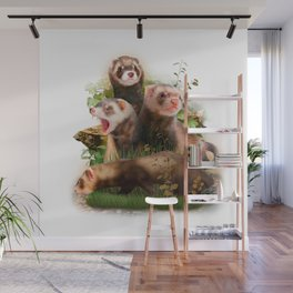 Four Ferrets in Their Wild Habitat Wall Mural