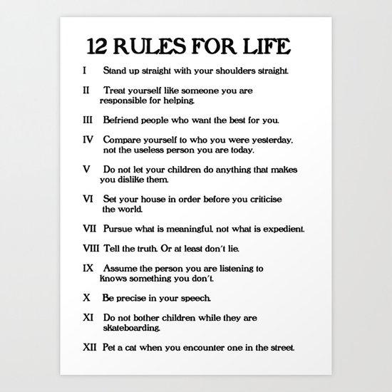 12 rules for life jordan peterson art print by libertytees society6