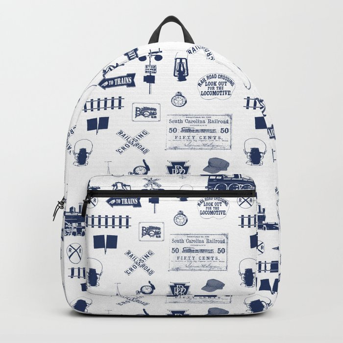 Railroad Symbols // Navy Blue Backpack