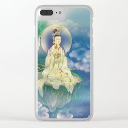 Sutra-holding Kuan Yin Clear iPhone Case