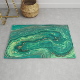 Green Marble Glitter Gold Fluid Painting Pouring Jupiter Surface Glamorous Shiny Metallic Accents Rug