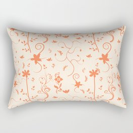 Living Coral Delicate Floral Pattern Rectangular Pillow