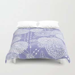 Asters rain in lilac color Duvet Cover