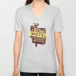 Seeing Stars ... Motel ... (Brown/Yellow Sign) Unisex V-Neck