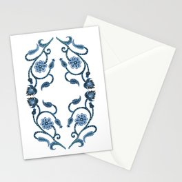 Blue Paisley Double Heart 1 Stationery Cards