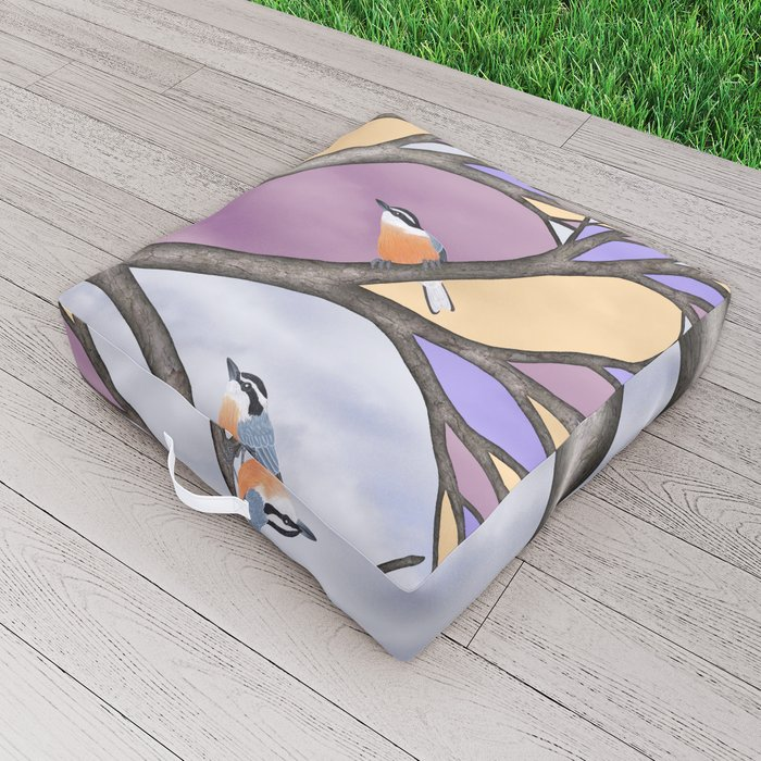 red breasted nuthatches in the stained glass tree Outdoor Floor Cushion