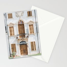WHITE CONCRETE BUILDING WITH WOODEN DOORS AND WINDOWS Stationery Cards