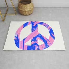 peace, blue & pink Rug