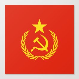 Russian Communist Flag Hammer & Sickle Canvas Print