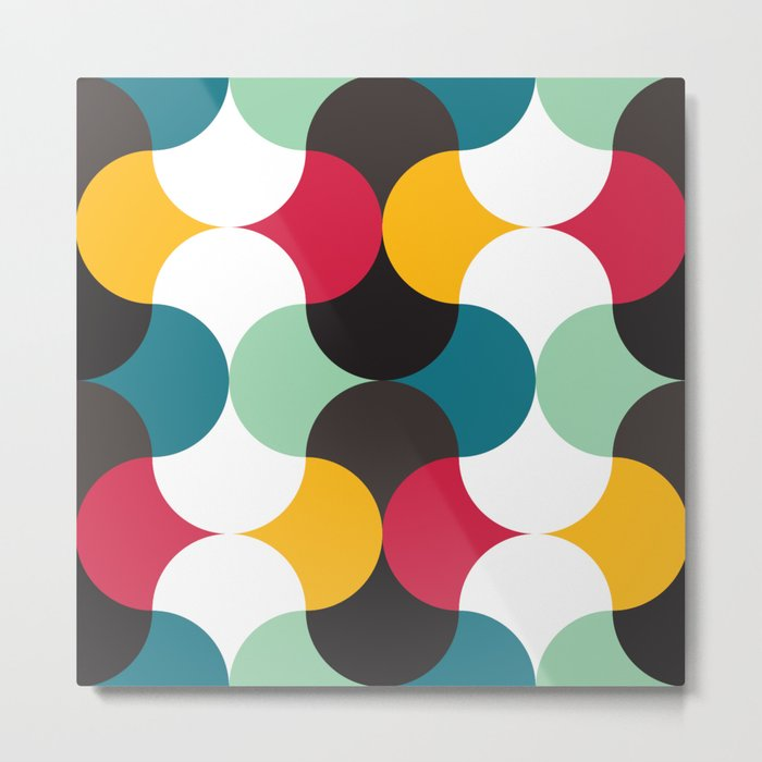 Geometric Pattern #24 (red blue yellow curves) Metal Print
