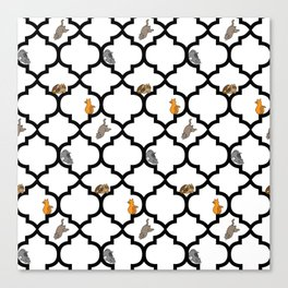 Cats on a Lattice - White Canvas Print