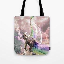 Fire Rainbow Dragon In Galaxy Tote Bag