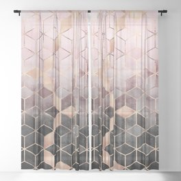 Pink And Grey Gradient Cubes Sheer Curtain