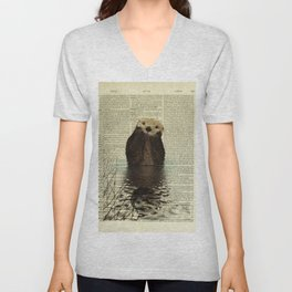 Otter in Love Unisex V-Neck