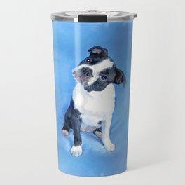 Cute Boston Terrier Puppy Painting Travel Mug