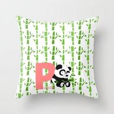 p for panda Throw Pillow