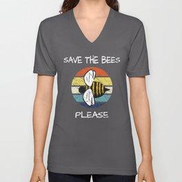Save The Bees Please Vintage Retro Distressed Unisex V-Neck