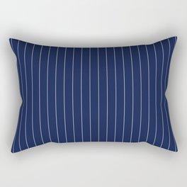 Navy Blue Pinstripes Line Rectangular Pillow