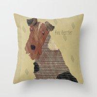 terrier Throw Pillows featuring fox terrier by bri.buckley