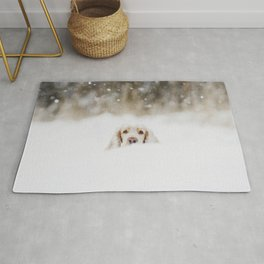 Hello - Minimalistic winter image of a dog in snow Rug