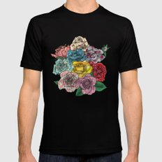 Flowers in Roses Black Mens Fitted Tee SMALL