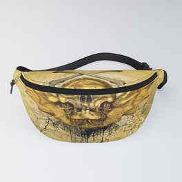 Golden skull with crow Fanny Pack
