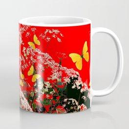 RED GARDEN ART OF YELLOW BUTTERFLIES & LACEY FLOWERS Coffee Mug