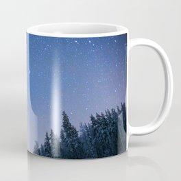 Blue Night Stars Wintry Forest Coffee Mug