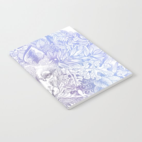 Pastel Purple Hiding Fox Drawing Notebook