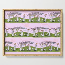 THE GIRL AND A LITTLE LAMB pink Serving Tray