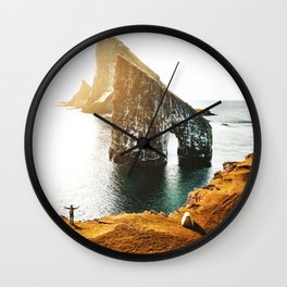 faroe islands aerial view Wall Clock