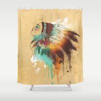 native american Shower Curtains featuring Native American Girl by TapuTIKI