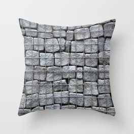 Grey stones behind metal grate, abstract vertical background Throw Pillow
