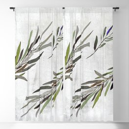 Eucalyptus Leaves White Blackout Curtain