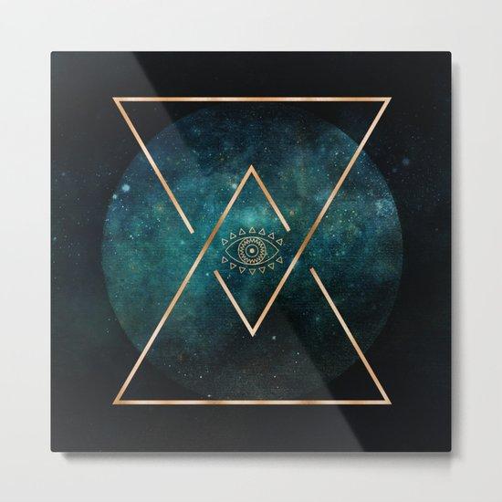 Eye Moon Gold Geometric Tribal Bohemian Mandala Metal Print