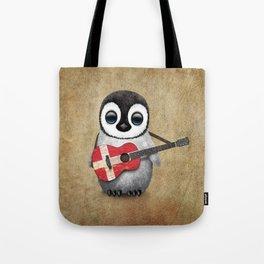 Baby Penguin Playing Danish Flag Acoustic Guitar Tote Bag