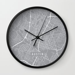 Austin Map, Texas USA - Pewter Wall Clock