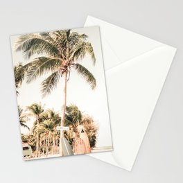 Surfboards and Palm Trees on the Beach Stationery Cards
